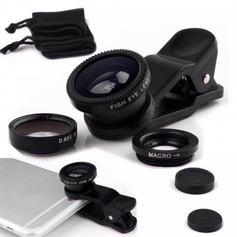 Fisheye Lens 3 In 1 Mobile Phone Clip Lenses