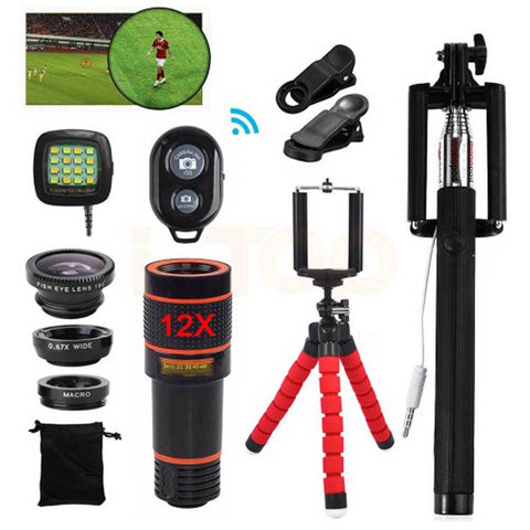 15in1 Phone Camera Lens Kit 12X Telephoto Zoom Lentes