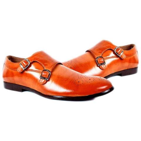 Double Buckle Formal Shoes Orange For Men