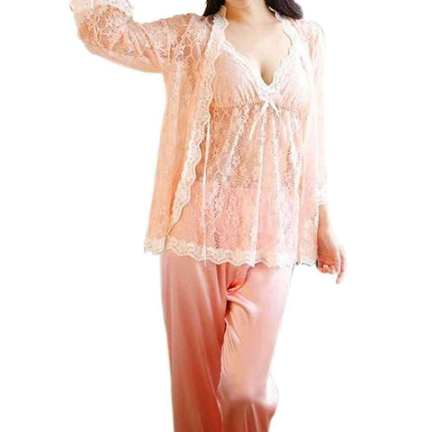 Peach Net Lace Gown Pj Set
