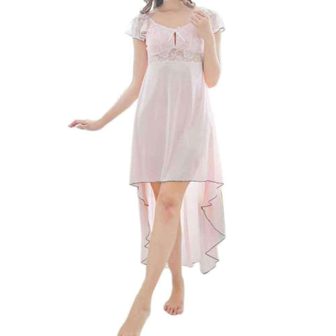 Pink Long Tail Style Sheer Gown Nightwear