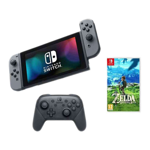 Nintendo Switch, The Legend of Zelda Breath of the Wild & Switch Pro Controller Bundle