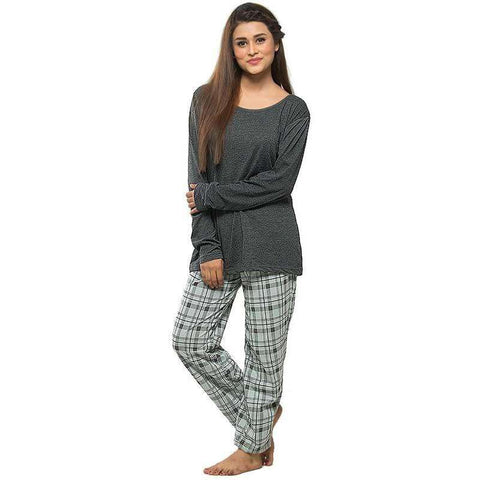 Grey Full Sleeves Cotton Pj's Sleepwear For Women