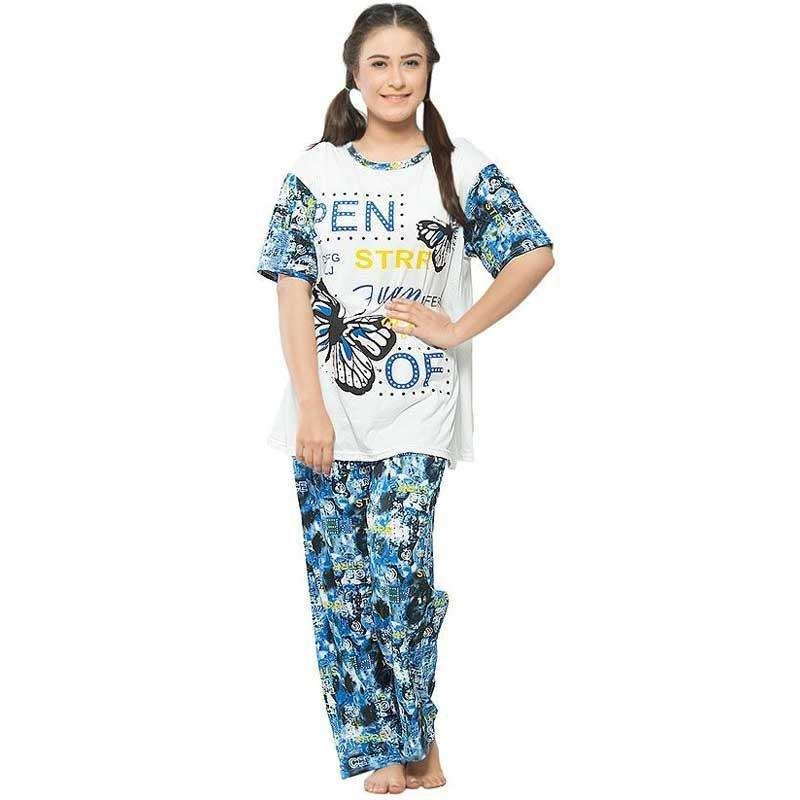 Blue Multicolor PJ's Sleepwear For Women's