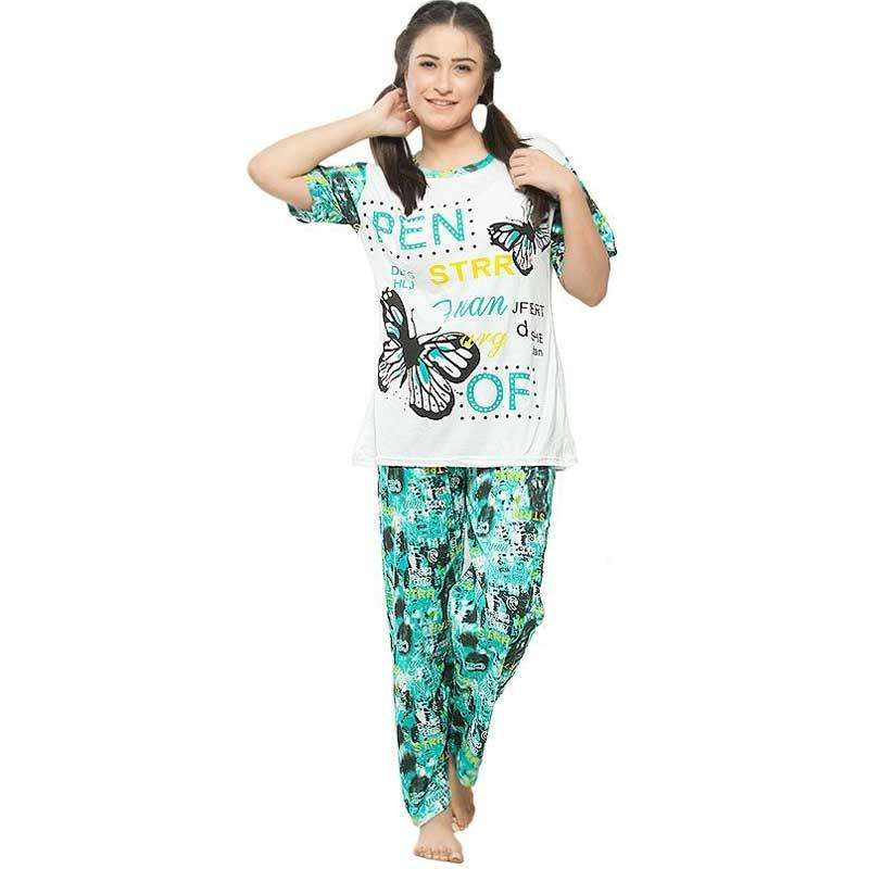 Green White Multicolor Night Suit
