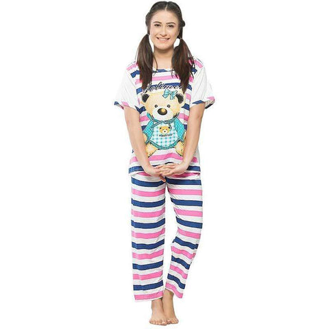 Blue & White Women's Printed Pj's Set