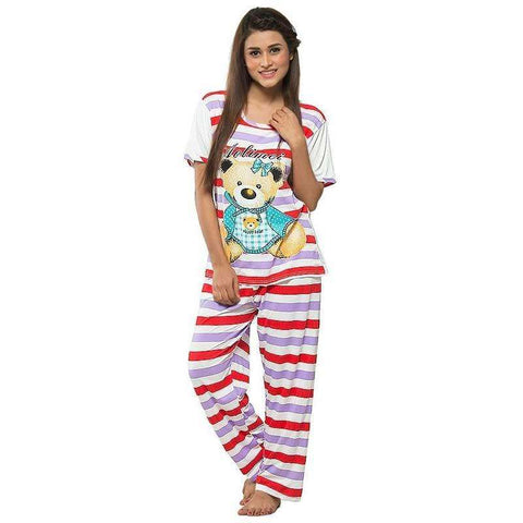 Red & White Women's Printed Pj's Set