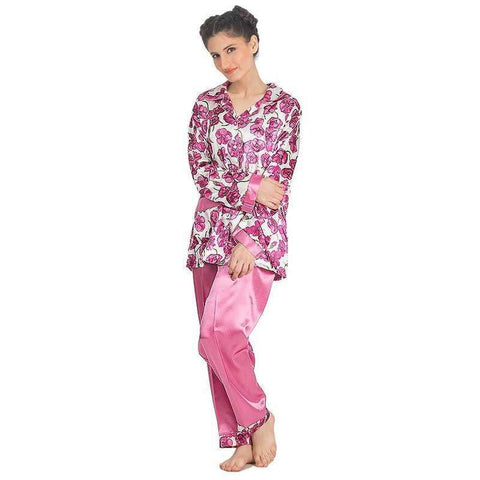 Pink Silk Women's Printed Pajamas Set Sleepwear