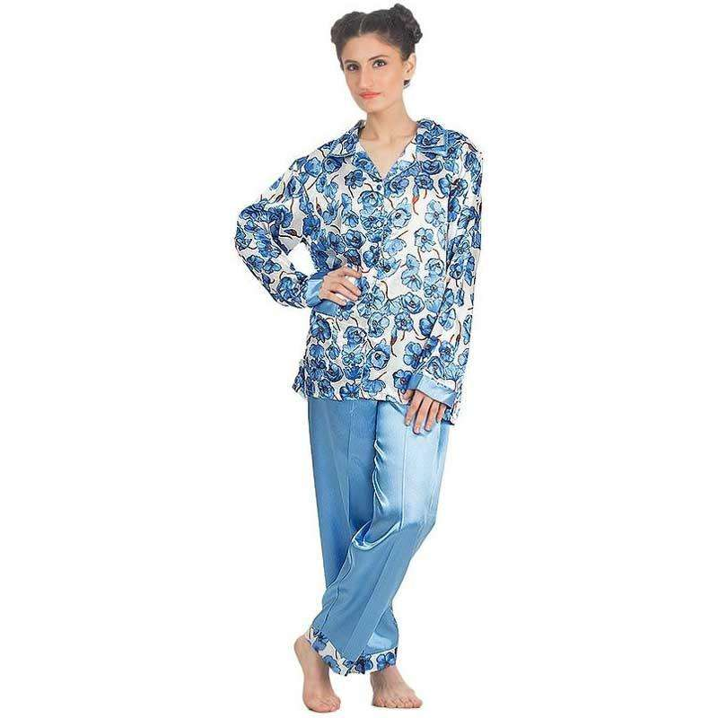 Women's Blue Silk Printed Pajamas Set Sleepwear