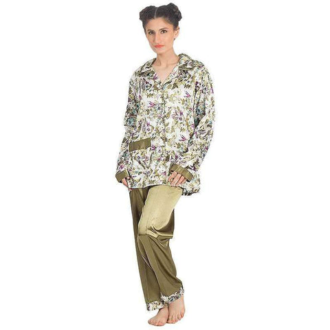 Ladies Green Silk Printed Pajamas Set Sleepwear