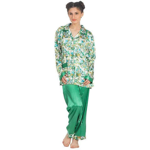 Women's Sea Green Silk Printed Pajamas Set Sleepwear