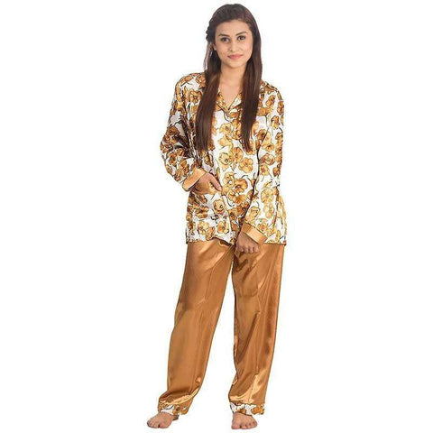 Women's Silk Bronze Floral Print Pj's Set Sleepwear