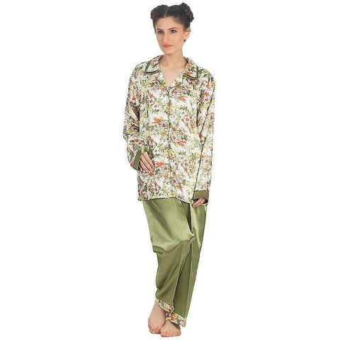 Ladies Olive Green Silk Floral Print Pj's Set Sleepwear