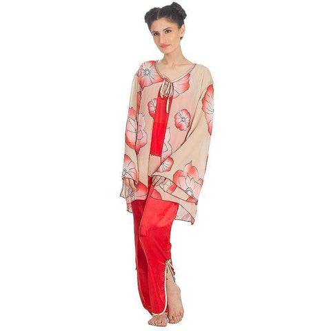 Women's Net Silk Red Floral Print Pj's Set Sleepwear