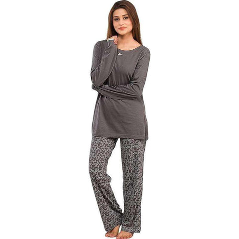Women's Dark Grey Cotton Pj's Set Nightwear