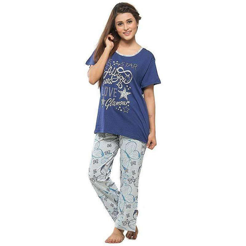 Women's Blue Pj's Cotton Printed Night Suit
