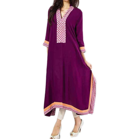 Purple Malai Lawn Kurta with Checkered Print at Placket & Zig Zag Print For Women