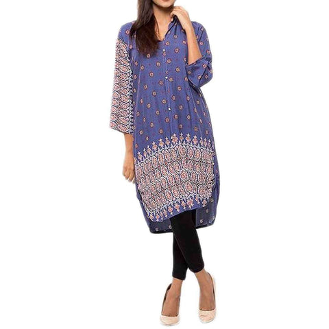 Royal Collection Pakistan Purple Stylish Printed Embroidery Lawn Shirt Kurti for Girls Womens  Free Size