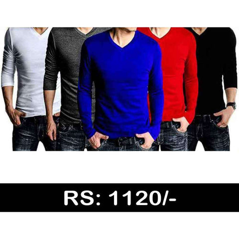 Men's Full Sleeves Pack of 5 V Neck
