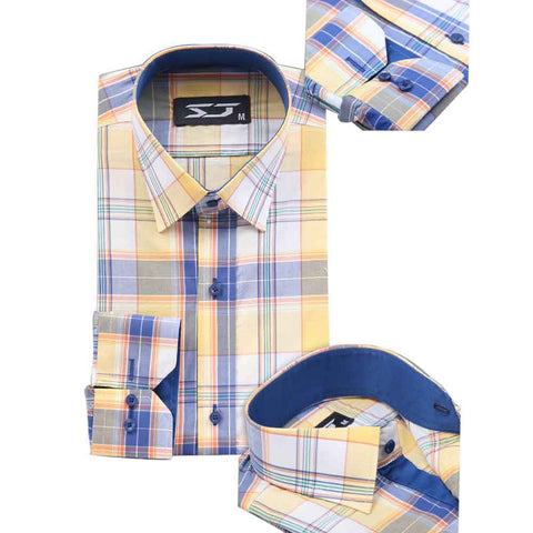 Yellow & Blue Check Shirt for Men