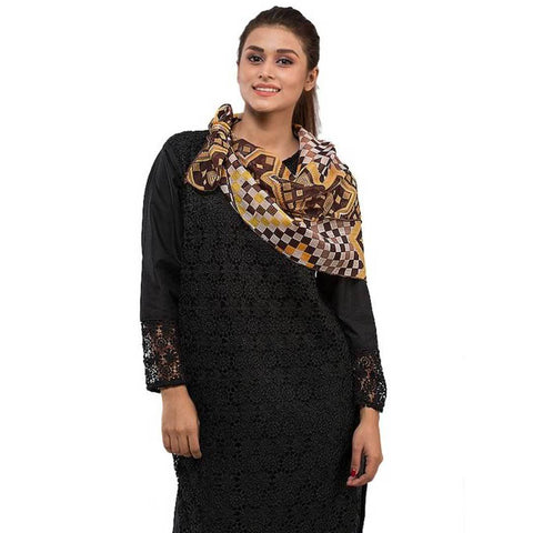 Women's Swiss Lawn Brown Printed Stoles