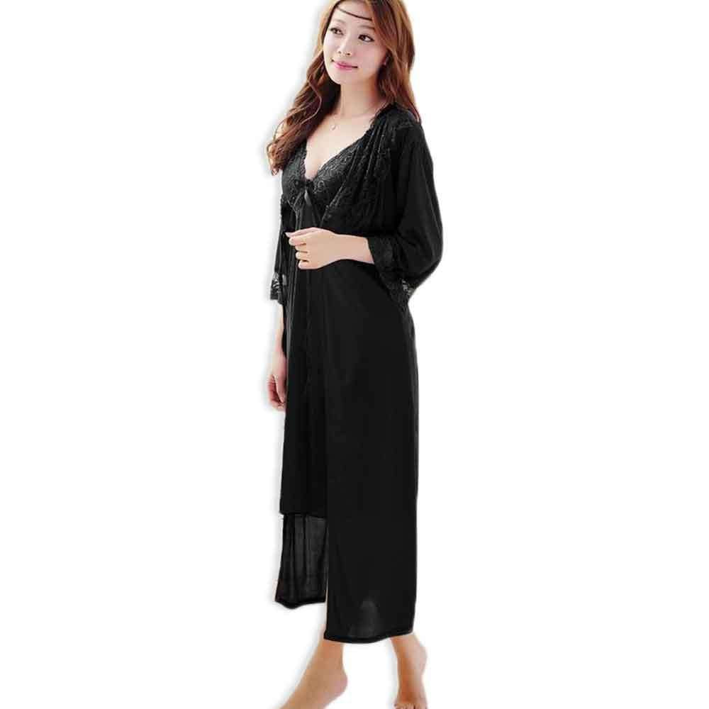 Women\'s Black Silk 2pc Robe Gown Set Nighty – Buhat Ala