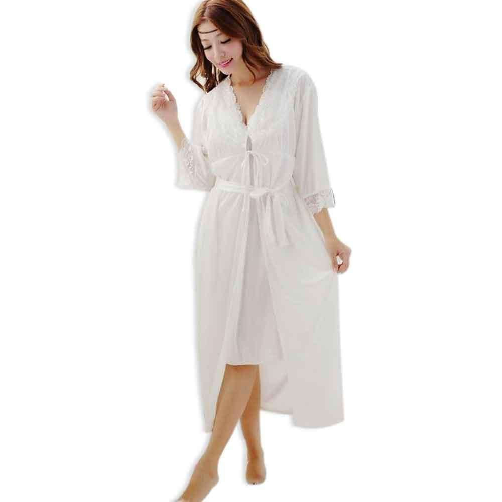 Women\'s White Silk 2pc Robe Gown Set Nighty – Buhat Ala