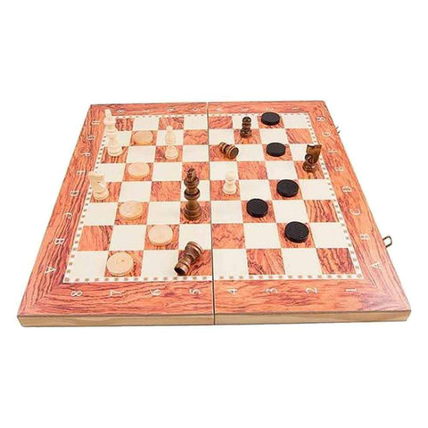 3 in 1 Wooden Chess Set Brown