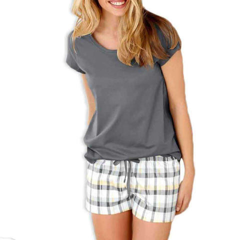 Grey Checkered Shorts Set Nightwear