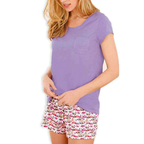 Women's Purple Top Swan Shorts Set Nightwear