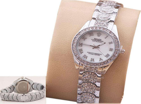 Silver Diamond Wrist Watch for Ladies
