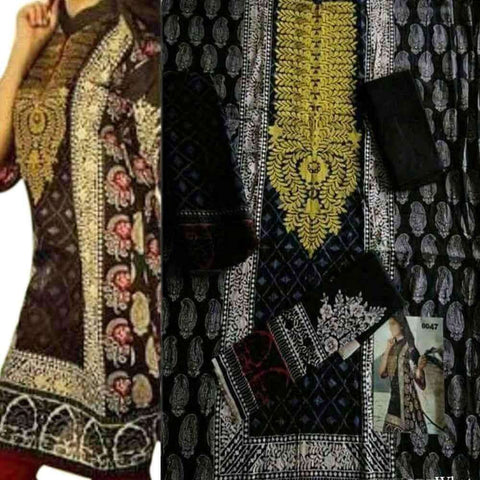 Black with Yellow 3Pcs Embroidery Unstitched Lawn