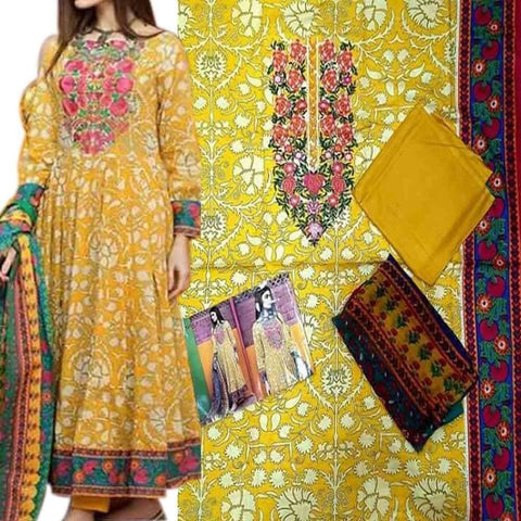 Embroidery Unstitched Lawn 3Pc Yellow & Pink