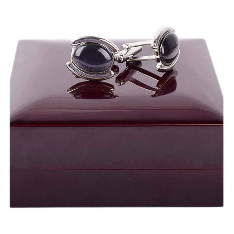 Black Stone With Silver Cufflinks For Men