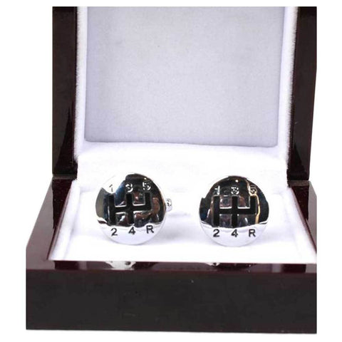Men's Gear Lever Silver Cufflinks