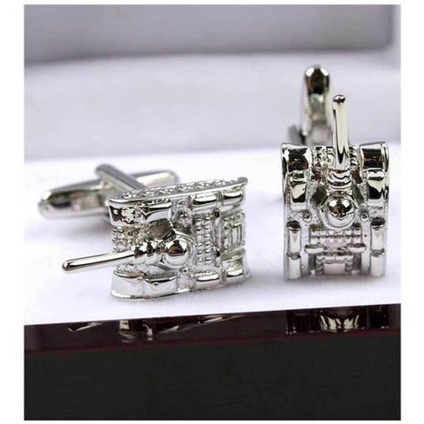 Army Tank Cufflinks For Men's Silver