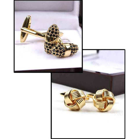 Men's Pack Of 2 YNG Golden Flower Design Cufflinks
