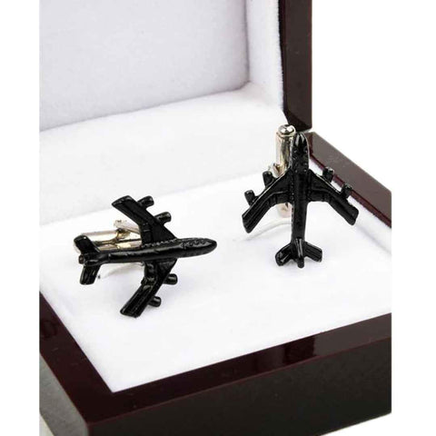 Men's Black Aeroplane YNG Cufflinks