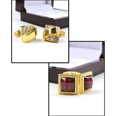 Men's Pack Of 2 Golden & Maroon YNG Cufflinks
