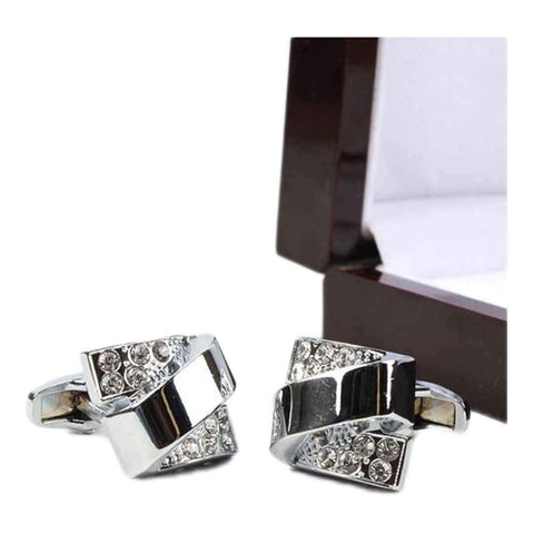Men's Black & Silver Stone Work Stainless Steel YNG Cufflinks