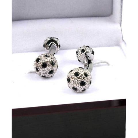 Men's Black & Silver Stone Work Stainless Steel Cufflinks