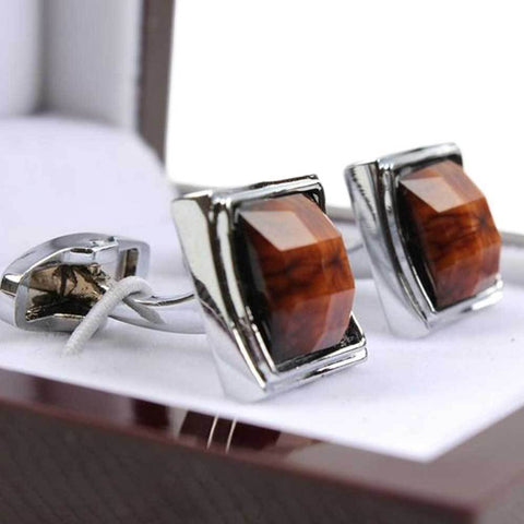 Men's Brow & Silver Stainless Steel Cufflinks