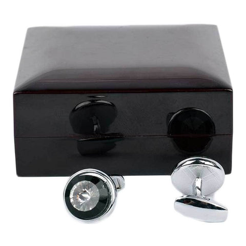 Black & Silver Mature Circle Cufflinks For Men