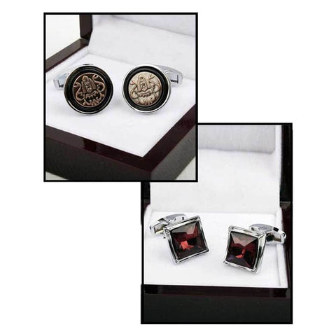 Men's Pack Of 2 Silver & Brown Cufflinks