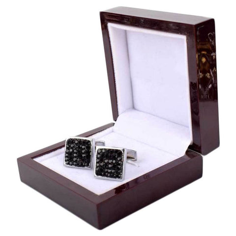 Black Square With Silver Cufflinks For Men