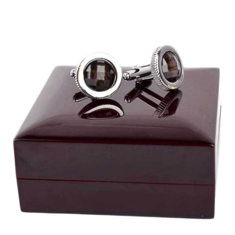Black Round Crystal Cufflinks For Men