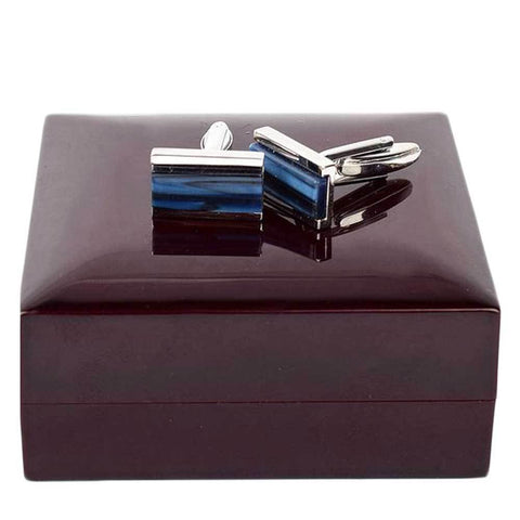 Blue And Silver  Rectangle Cufflinks For Men