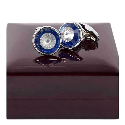 Blue And White Stainless Steel Cufflinks For Men