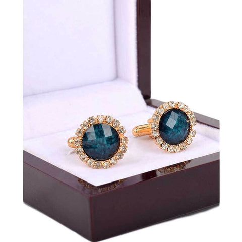 Blue And Gold Crystal Cufflinks For Men