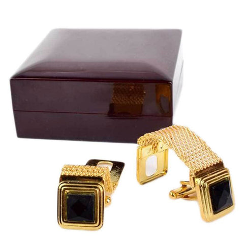 Gold & Black Stainless Steel Cufflinks For Men